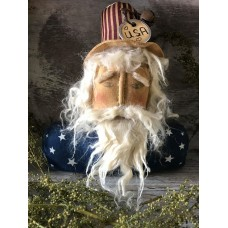 Primitive* Handcrafted* Patriotic Sam* Doll* Shelf Sitter*  Uncle Sam*