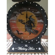 Hand painted Halloween Metal Clock with Witch & Black Cat