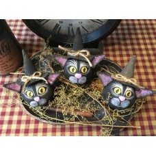 Primitive Hand-crafted Black Cat Bowlfillers *Halloween*