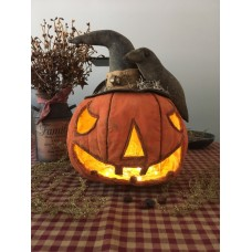Primitive Hand-crafted Lighted Jack O' Lantern Shelf Sitter *Halloween*