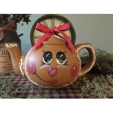 Prim Hand-painted* Gingerbread Girl/Man* Ceramic Tea Pot* Christmas* Ornies