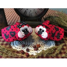 "Primitive Handcrafted ""Love Bugs""* Ornies* Bowl Fillers* Valentine's Day * Red"