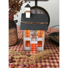 Primitive Electric Lighted Wooden Saltbox House - White-wash