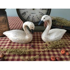 Primitive* Resin Swans set/2* Country Farmhouse* White Swan Pair* Shelf sitters