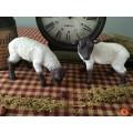 Primitive Resin Grazing Sheep Shelf Sitters Country Farmhouse Ornies set/2