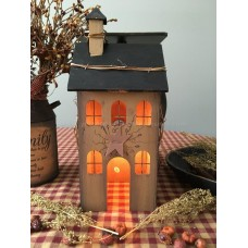 Primitive Electric Lighted Wooden Saltbox House  - Mustard