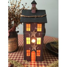 Primitive Electric lighted Wooden Saltbox House - Burgundy