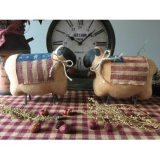 Primitive* Handcrafted* Americana Folk Art Sheep w/Throw Blankets
