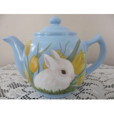 Primitive Easter Hand-painted Baby Bunny/Duck Tea Pot