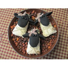 Primitive Handcrafted Grubby Sheep Ornies set/3