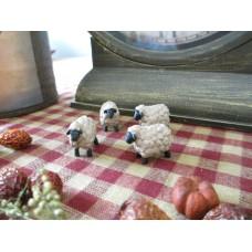 Primitive Tiny Resin Mini Folk Art Sheep set/4 - Blossom Bucket