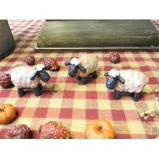Primitive Tiny Mini Folk Art Sheep set/3 - Blossom Bucket