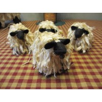 Primitive Handcrafted Grubby Sheep Ornies *Shelf Sitters* set/4
